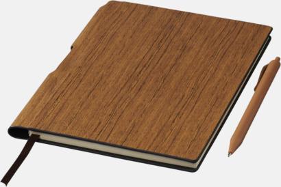 Brun A5-böcker med träkänsla med reklamtryck
