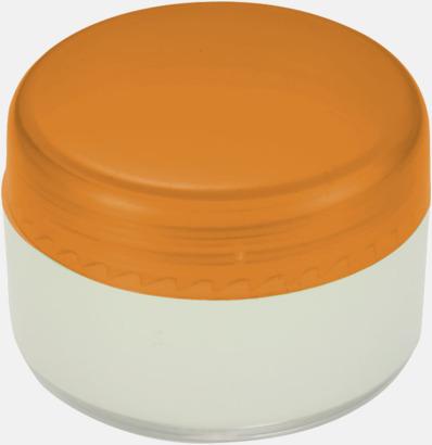 Orange Läppcerat i små askar med reklamtryck