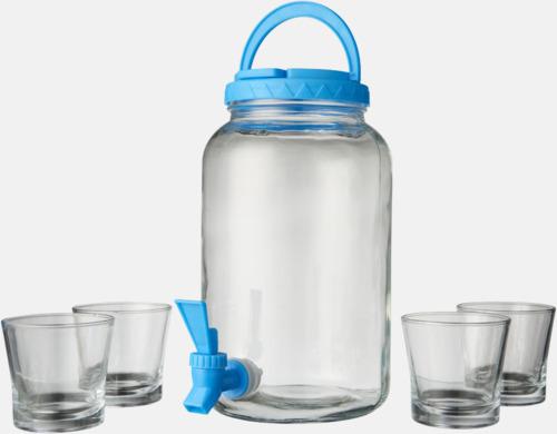 Transparent Klar/Blå Kranförsedd karaff i set med glas - med reklamtryck
