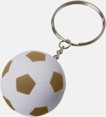 Vit / Guld Fotbollsnyckelringar med reklamtryck
