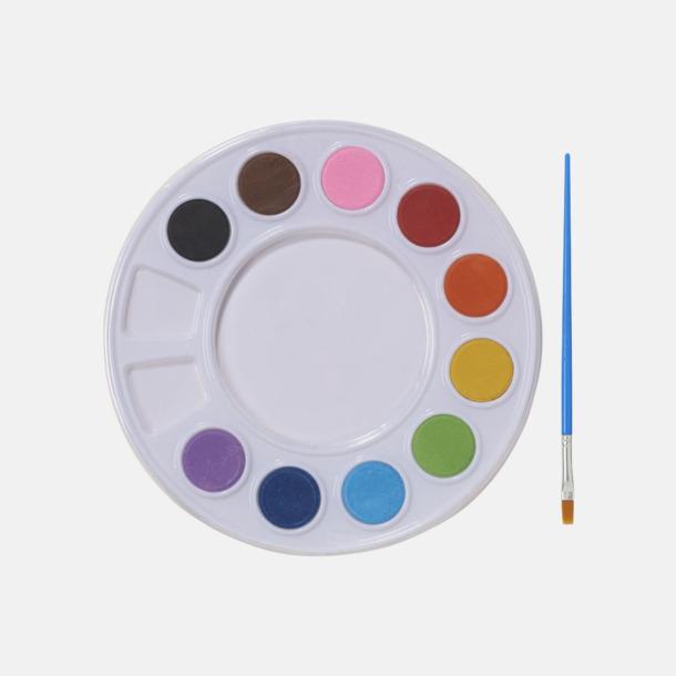 Vit Vattenfärger på palett med reklamtryck