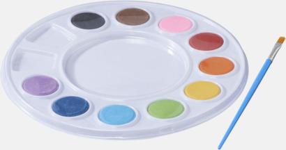 Vattenfärger på palett med reklamtryck