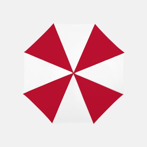 Röd/Vit Automatiskt paraply i flera färger med eget reklamtryck