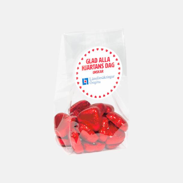 Egen etikett Chokladhjärtan i cellofanpåse med etikett