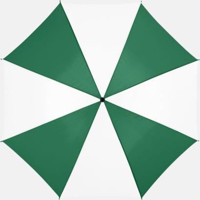 Grön/Vit Stora, automatiska paraplyer med reklamtryck
