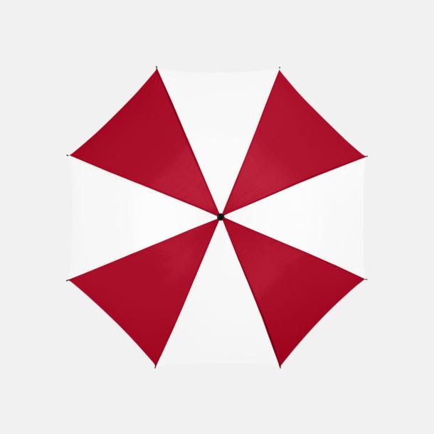 Röd/Vit Stora, automatiska paraplyer med reklamtryck