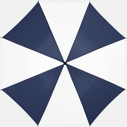 Marinblå/Vit Stora, automatiska paraplyer med reklamtryck