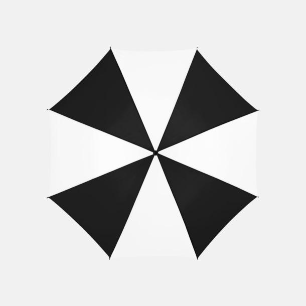 Svart/Vit Stora, automatiska paraplyer med reklamtryck