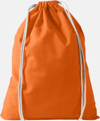 Orange Billiga bomullsgympapåsar med reklamtryck