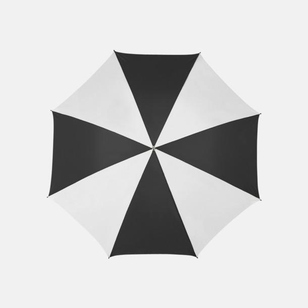 Vit / Svart Stora golfparaplyer med reklamtryck