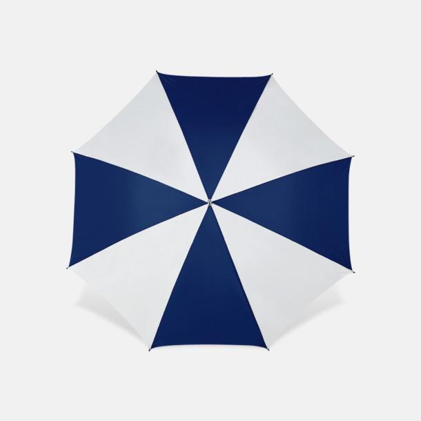Vit / Marinblå Stora golfparaplyer med reklamtryck