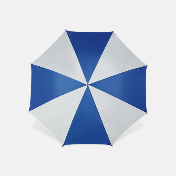 Vit / Blå Stora golfparaplyer med reklamtryck