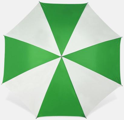 Vit / Grön Stora golfparaplyer med reklamtryck