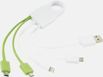 Vit / Limegrön Flera laddningskablar för olika enheter - med reklamtryck
