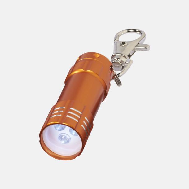 Orange Liten ficklampa med nyckelhake - med reklamtryck