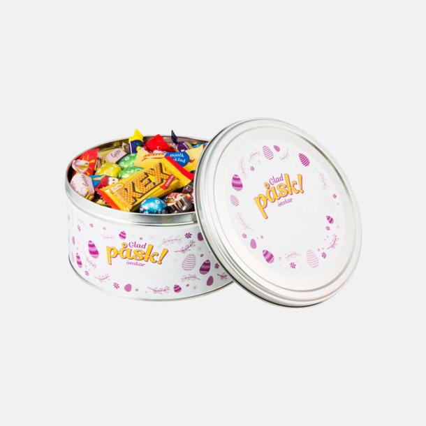 Inslaget godis  Plåburkar fyllda med påskgodis - med reklametikett eller -banderoll