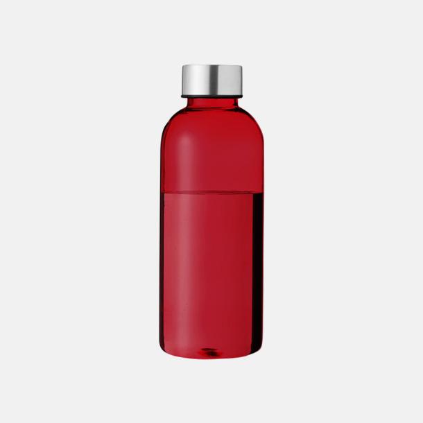 Transparent Röd/Silver Stilrena vattenflaskor med reklamtryck