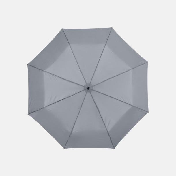 Ljusgrå Kompaktparaply med eget reklamtryck