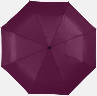 Vinröd / Silver Kompakta paraplyer med eget reklamtryck