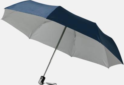 Marinblå/Silver Kompakta paraplyer med eget reklamtryck