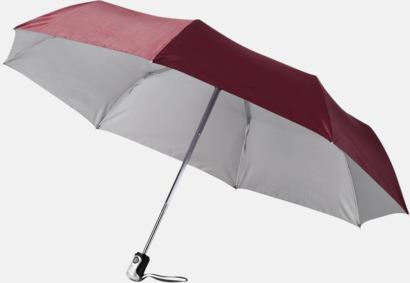 Vinröd/Silver Kompakta paraplyer med eget reklamtryck