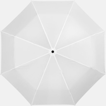 Vit Kompakta paraplyer med eget reklamtryck