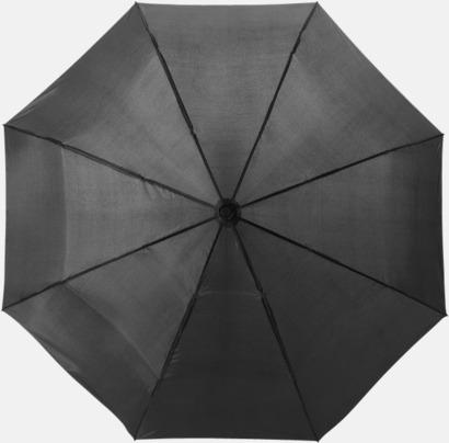 Svart Kompakta paraplyer med eget reklamtryck