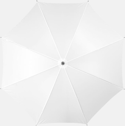 Vit Klassiskt paraply med träskaft med eget rekalmtryck