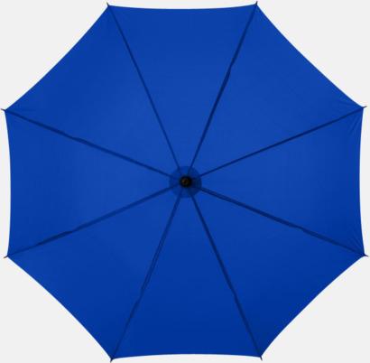 Kungsblå Klassiskt paraply med träskaft med eget rekalmtryck