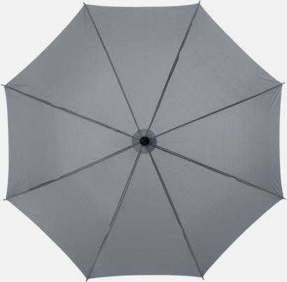 Grå Klassiskt paraply med träskaft med eget rekalmtryck