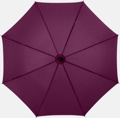 Vinröd Klassiskt paraply med träskaft med eget rekalmtryck
