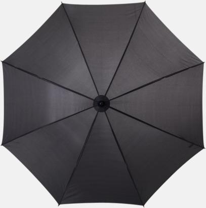 Svart Klassiskt paraply med träskaft med eget rekalmtryck