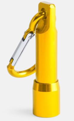 Gul Ficklampa med matchande karbinhake - med reklamtryck