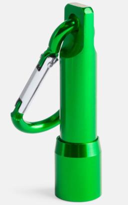 Grön Ficklampa med matchande karbinhake - med reklamtryck