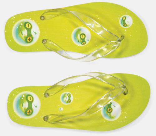 Grön Sköna flip flops i skum med eget reklamtryck