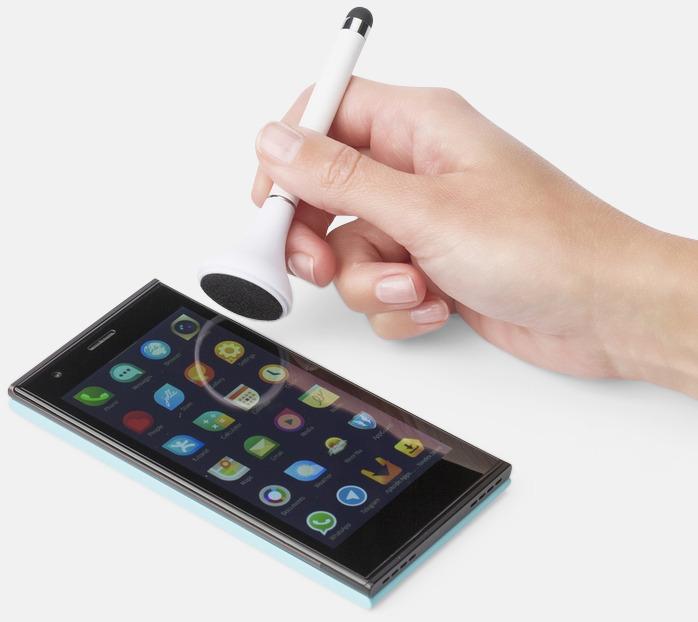Touchpenna, bläckpenna och skärmrengörare med reklamtryck