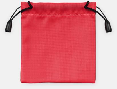 Röd Presentpåsar med dragsko - med reklamtryck