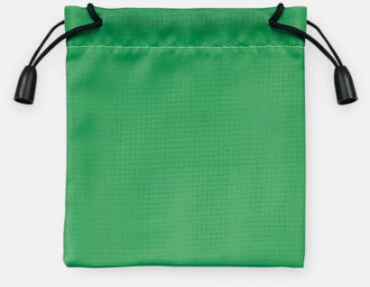 Grön Presentpåsar med dragsko - med reklamtryck