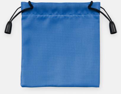 Blå Presentpåsar med dragsko - med reklamtryck
