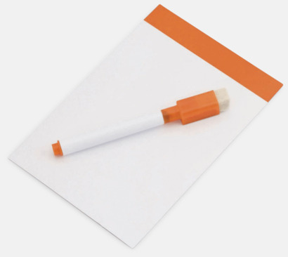Vit / Orange Mini-writing boards med reklamtryck