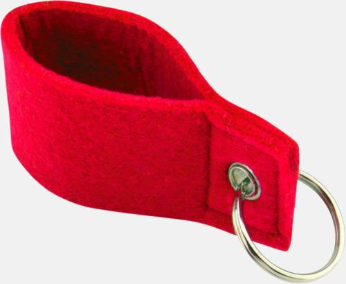 Röd Nyckelringar med färgade band - med reklamtryck