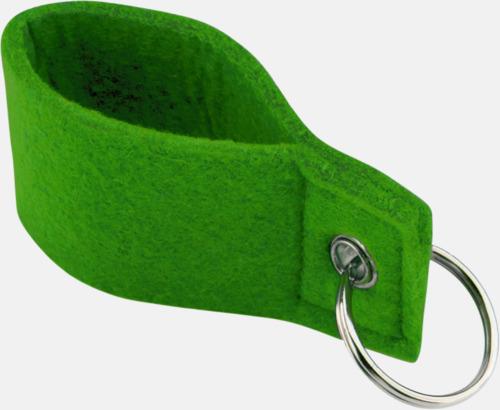 Grön Nyckelringar med färgade band - med reklamtryck