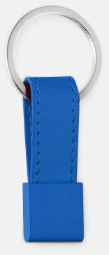 Blå Nyckelring med bricka och band i valbar färg - med reklamtryck