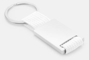 Metallnyckelringar med färgade polyesterband med gravyr