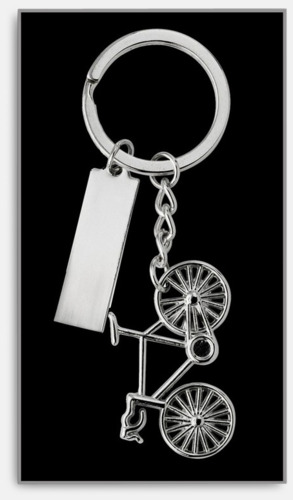 Detaljrika cykelnyckelringar med gravyr