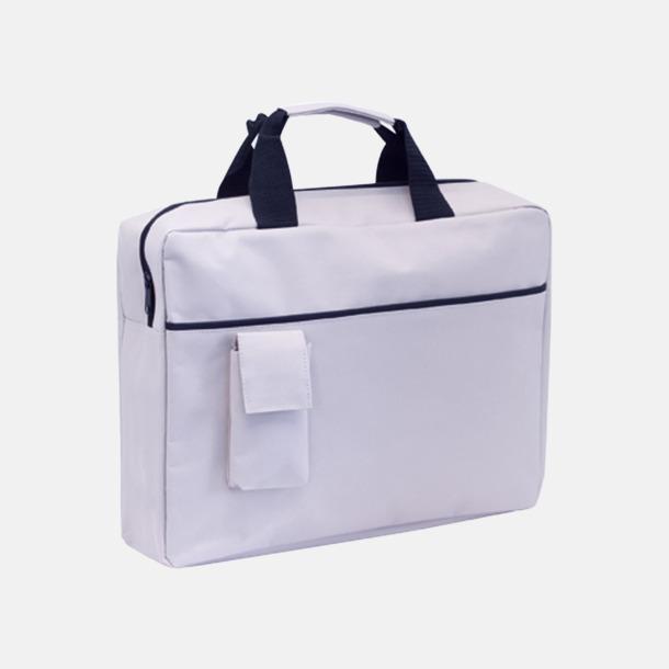 Vit Dokumentväskor med mobilfickor - med tryck
