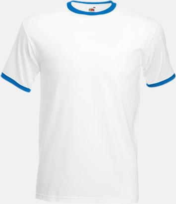 Vit/Royal T-shirt med kontrasterande färger - med reklamtryck