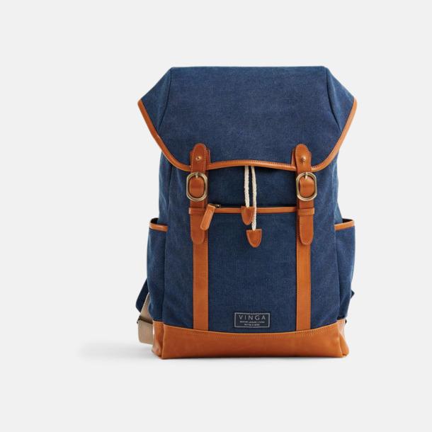 Marinblå Clifton canvas ryggsäck från Vinga med egen logga