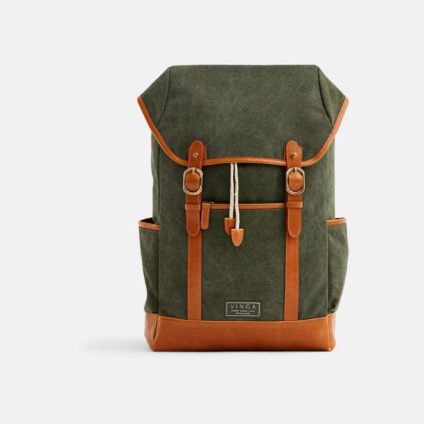 Grön Clifton canvas ryggsäck från Vinga med egen logga