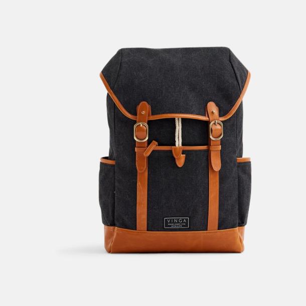 Svart Clifton canvas ryggsäck från Vinga med egen logga